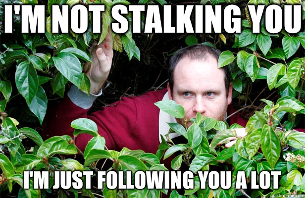 I'm Not Stalking You! I'm Just Following You A Lot!